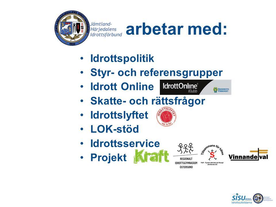arbetar med: Idrottspolitik Styr- och referensgrupper Idrott Online Skatte- och rättsfrågor Idrottslyftet LOK-stöd Idrottsservice Projekt