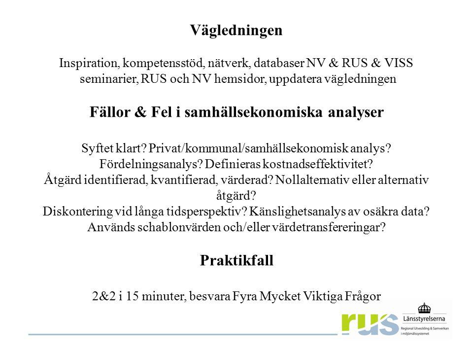 Vägledningen Inspiration, kompetensstöd, nätverk, databaser NV & RUS & VISS seminarier, RUS och NV hemsidor, uppdatera vägledningen Fällor & Fel i samhällsekonomiska analyser Syftet klart.