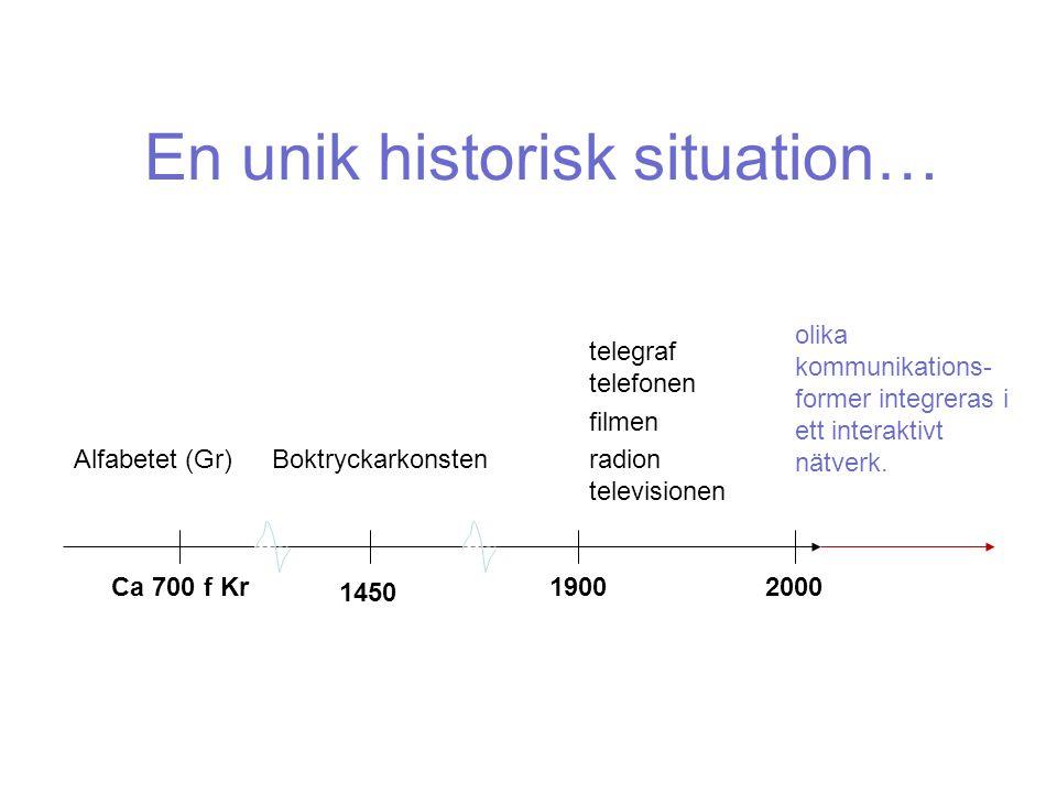 En unik historisk situation… Boktryckarkonsten 1450 Alfabetet (Gr) Ca 700 f Kr1900 telegraf telefonen filmen radion televisionen 2000 olika kommunikations- former integreras i ett interaktivt nätverk.