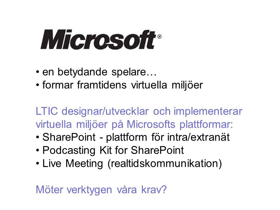 en betydande spelare… formar framtidens virtuella miljöer LTIC designar/utvecklar och implementerar virtuella miljöer på Microsofts plattformar: SharePoint - plattform för intra/extranät Podcasting Kit for SharePoint Live Meeting (realtidskommunikation) Möter verktygen våra krav?