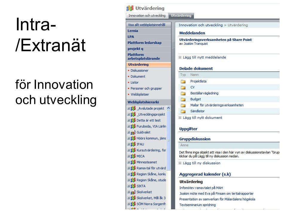 Intra- /Extranät för Innovation och utveckling