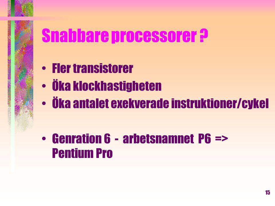 15 Snabbare processorer .