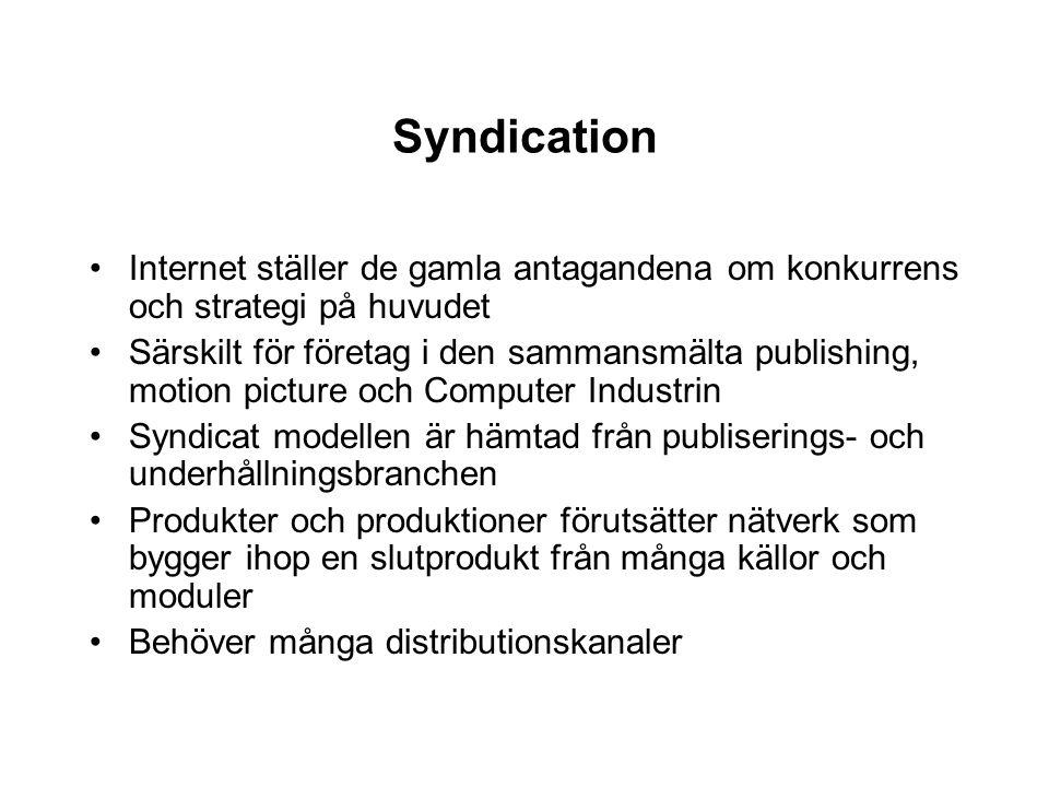 Syndication Internet ställer de gamla antagandena om konkurrens och strategi på huvudet Särskilt för företag i den sammansmälta publishing, motion pic