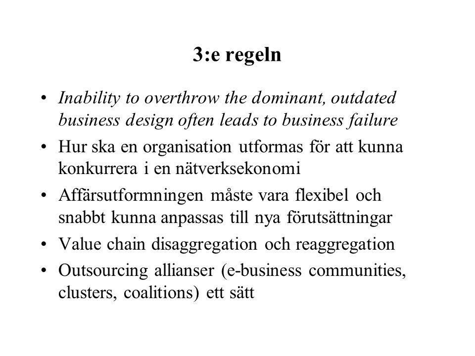 3:e regeln Inability to overthrow the dominant, outdated business design often leads to business failure Hur ska en organisation utformas för att kunn