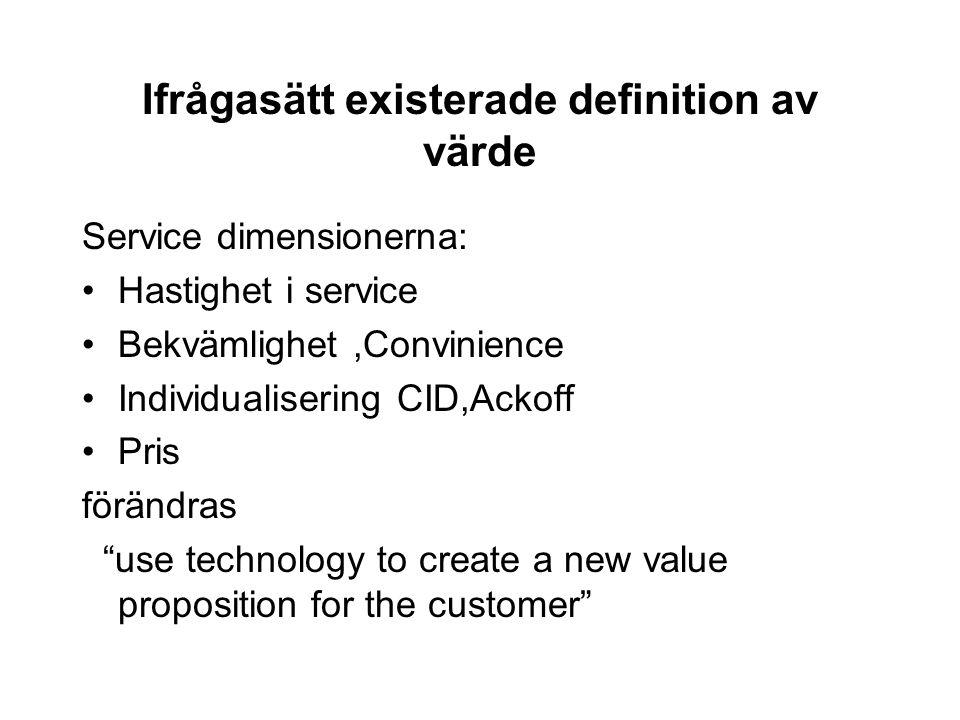 Ifrågasätt existerade definition av värde Service dimensionerna: Hastighet i service Bekvämlighet,Convinience Individualisering CID,Ackoff Pris föränd