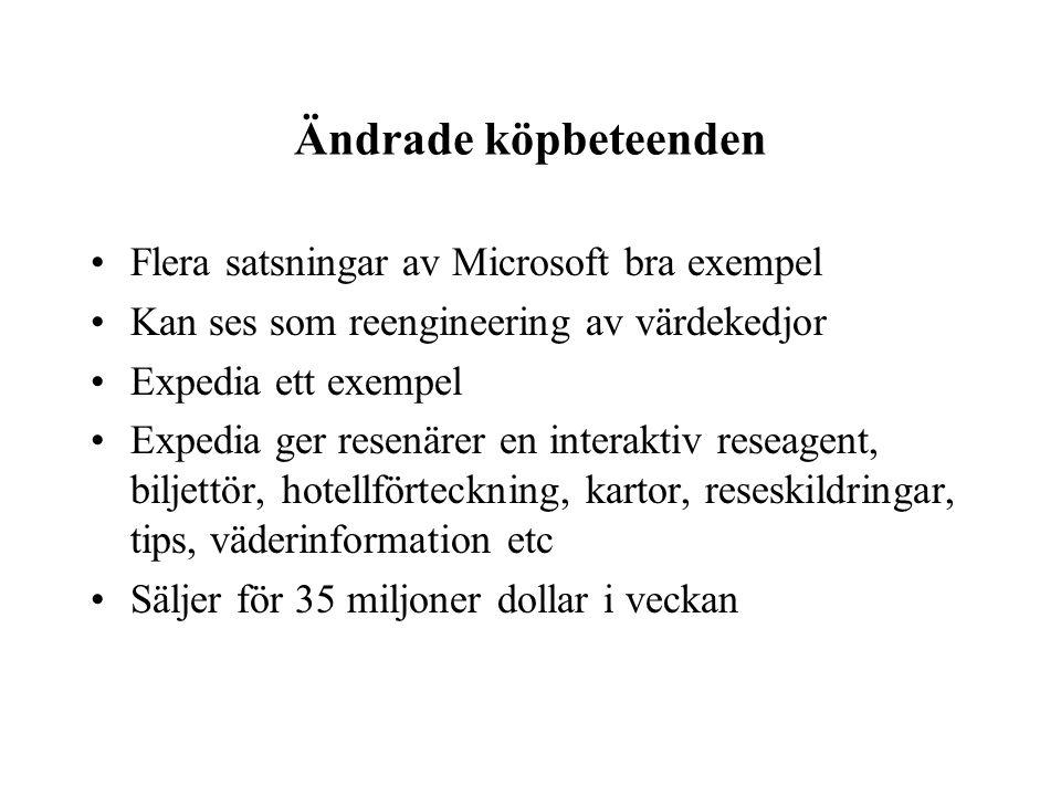 Ändrade köpbeteenden Flera satsningar av Microsoft bra exempel Kan ses som reengineering av värdekedjor Expedia ett exempel Expedia ger resenärer en i