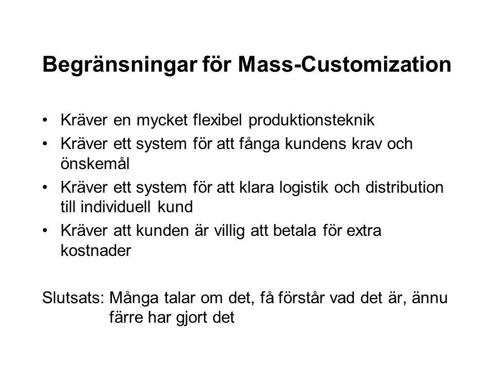 Begränsningar för Mass-Customization Kräver en mycket flexibel produktionsteknik Kräver ett system för att fånga kundens krav och önskemål Kräver ett