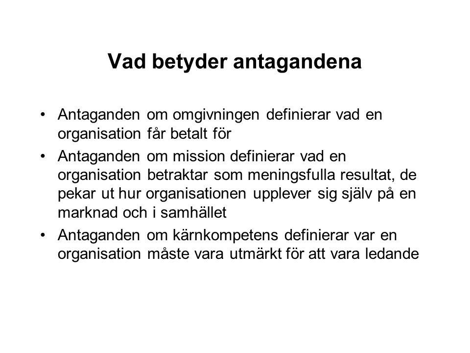 Vad betyder antagandena Antaganden om omgivningen definierar vad en organisation får betalt för Antaganden om mission definierar vad en organisation b