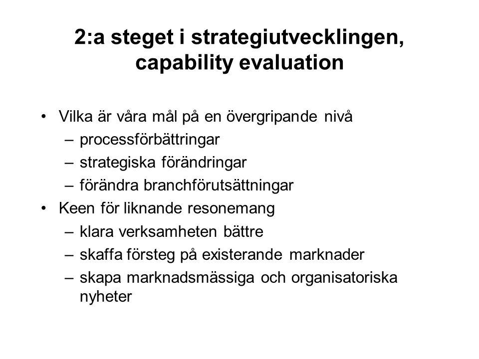 2:a steget i strategiutvecklingen, capability evaluation Vilka är våra mål på en övergripande nivå –processförbättringar –strategiska förändringar –fö