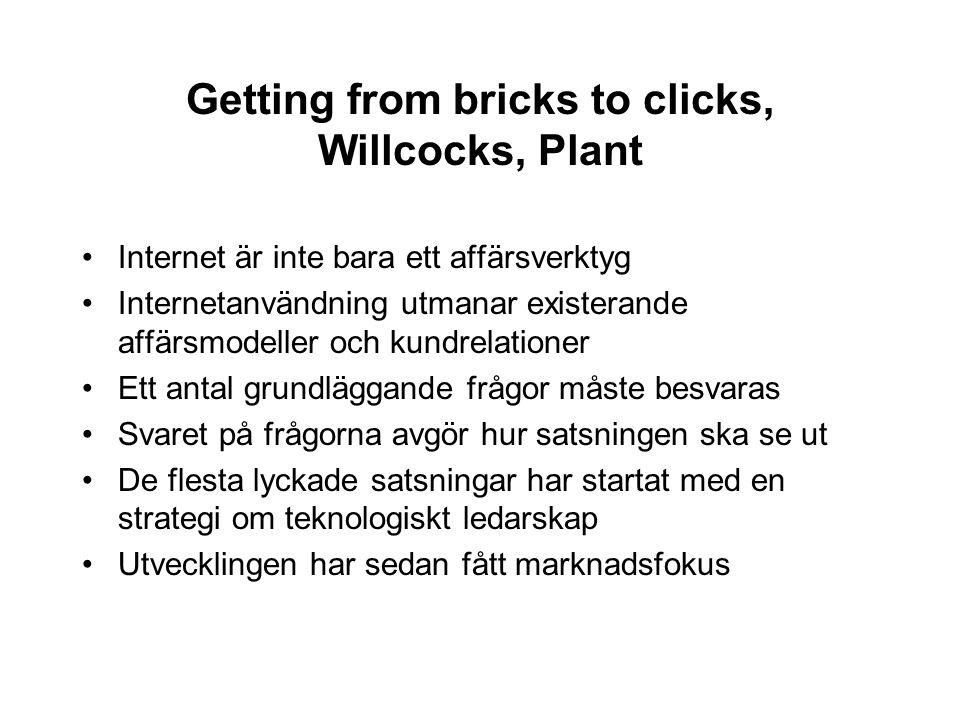 Getting from bricks to clicks, Willcocks, Plant Internet är inte bara ett affärsverktyg Internetanvändning utmanar existerande affärsmodeller och kund