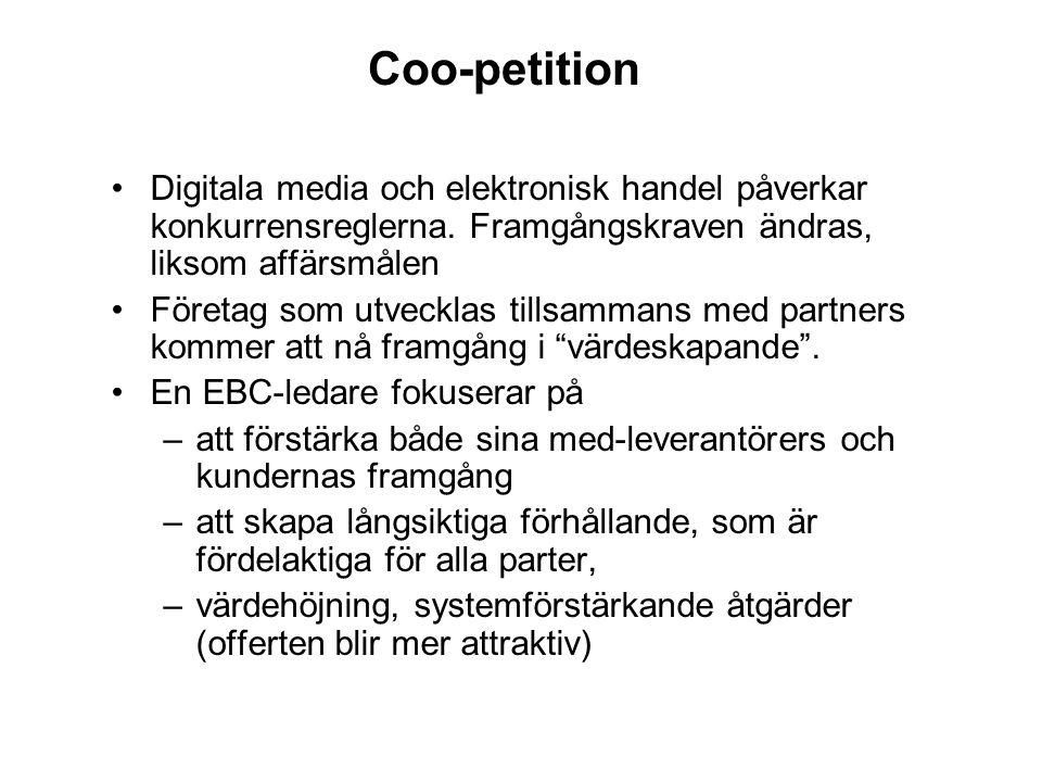 Coo-petition Digitala media och elektronisk handel påverkar konkurrensreglerna. Framgångskraven ändras, liksom affärsmålen Företag som utvecklas tills