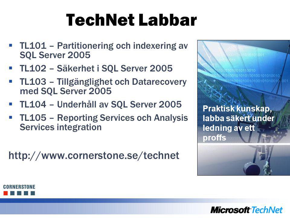 TechNet Labbar  TL101 – Partitionering och indexering av SQL Server 2005  TL102 – Säkerhet i SQL Server 2005  TL103 – Tillgänglighet och Datarecove
