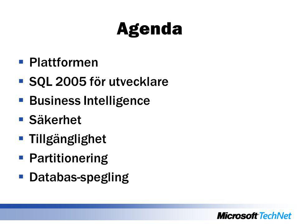 Agenda  Plattformen  SQL 2005 för utvecklare  Business Intelligence  Säkerhet  Tillgänglighet  Partitionering  Databas-spegling