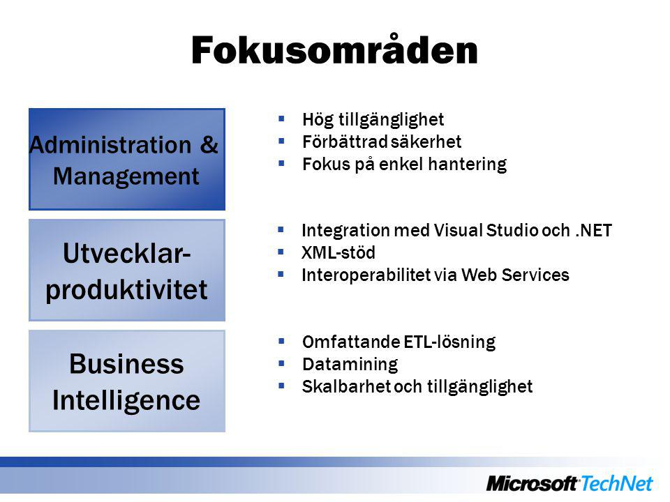  Integration med Visual Studio och.NET  XML-stöd  Interoperabilitet via Web Services Fokusområden Business Intelligence Administration & Management