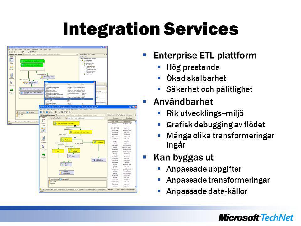 Integration Services  Enterprise ETL plattform  Hög prestanda  Ökad skalbarhet  Säkerhet och pålitlighet  Användbarhet  Rik utvecklings--miljö 
