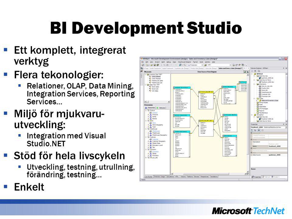 BI Development Studio  Ett komplett, integrerat verktyg  Flera tekonologier:  Relationer, OLAP, Data Mining, Integration Services, Reporting Services…  Miljö för mjukvaru- utveckling:  Integration med Visual Studio.NET  Stöd för hela livscykeln  Utveckling, testning, utrullning, förändring, testning…  Enkelt