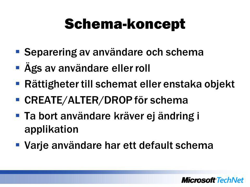 Schema-koncept  Separering av användare och schema  Ägs av användare eller roll  Rättigheter till schemat eller enstaka objekt  CREATE/ALTER/DROP