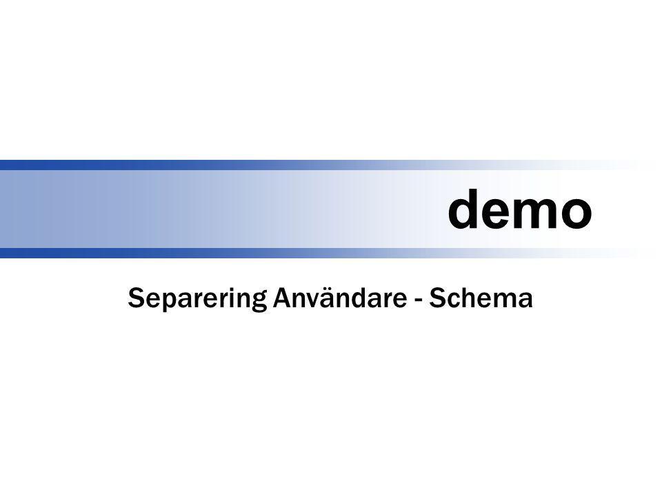 demo Separering Användare - Schema