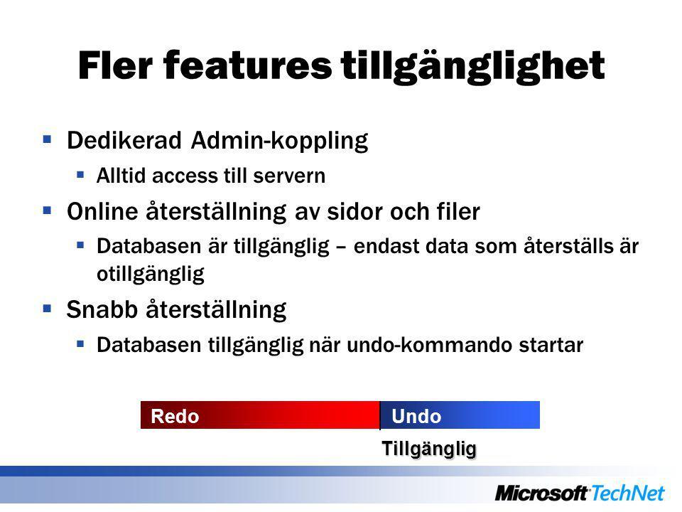 Fler features tillgänglighet  Dedikerad Admin-koppling  Alltid access till servern  Online återställning av sidor och filer  Databasen är tillgäng