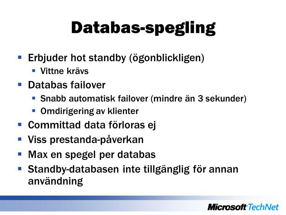 Databas-spegling  Erbjuder hot standby (ögonblickligen)  Vittne krävs  Databas failover  Snabb automatisk failover (mindre än 3 sekunder)  Omdiri