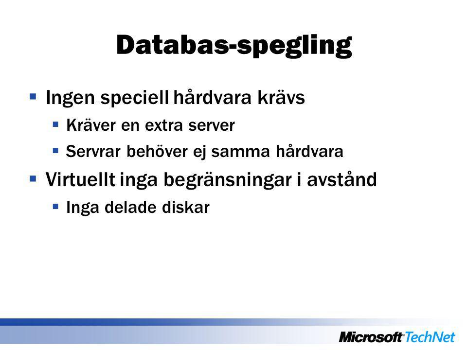 Databas-spegling  Ingen speciell hårdvara krävs  Kräver en extra server  Servrar behöver ej samma hårdvara  Virtuellt inga begränsningar i avstånd