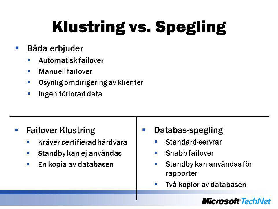 Klustring vs. Spegling  Båda erbjuder  Automatisk failover  Manuell failover  Osynlig omdirigering av klienter  Ingen förlorad data  Databas-spe