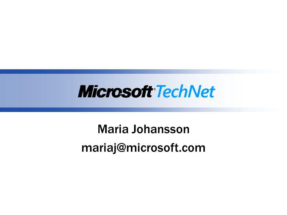 Maria Johansson mariaj@microsoft.com
