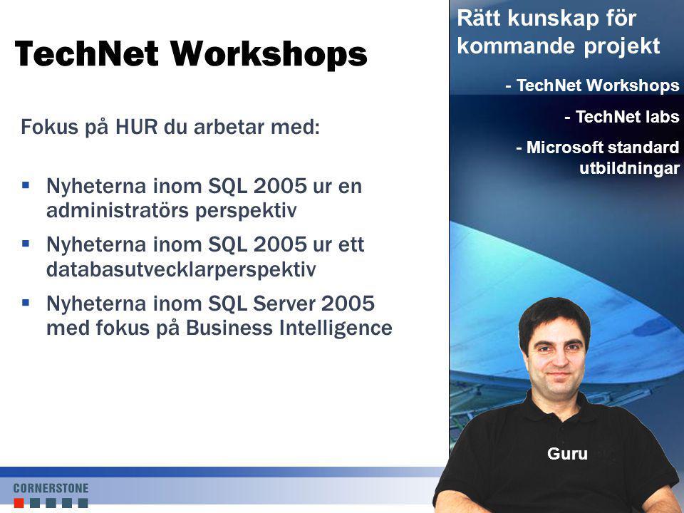 TechNet Labbar  TL101 – Partitionering och indexering av SQL Server 2005  TL102 – Säkerhet i SQL Server 2005  TL103 – Tillgänglighet och Datarecovery med SQL Server 2005  TL104 – Underhåll av SQL Server 2005  TL105 – Reporting Services och Analysis Services integration http://www.cornerstone.se/technet Praktisk kunskap, labba säkert under ledning av ett proffs