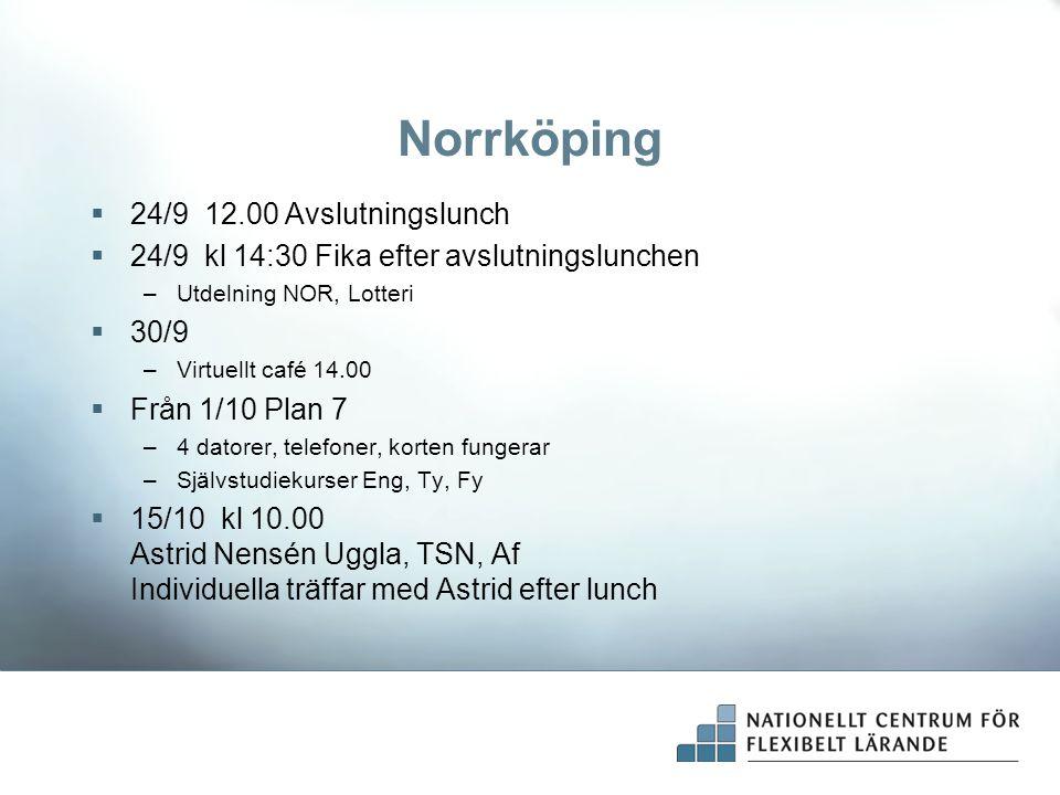 Norrköping  24/9 12.00 Avslutningslunch  24/9 kl 14:30 Fika efter avslutningslunchen –Utdelning NOR, Lotteri  30/9 –Virtuellt café 14.00  Från 1/10 Plan 7 –4 datorer, telefoner, korten fungerar –Självstudiekurser Eng, Ty, Fy  15/10 kl 10.00 Astrid Nensén Uggla, TSN, Af Individuella träffar med Astrid efter lunch