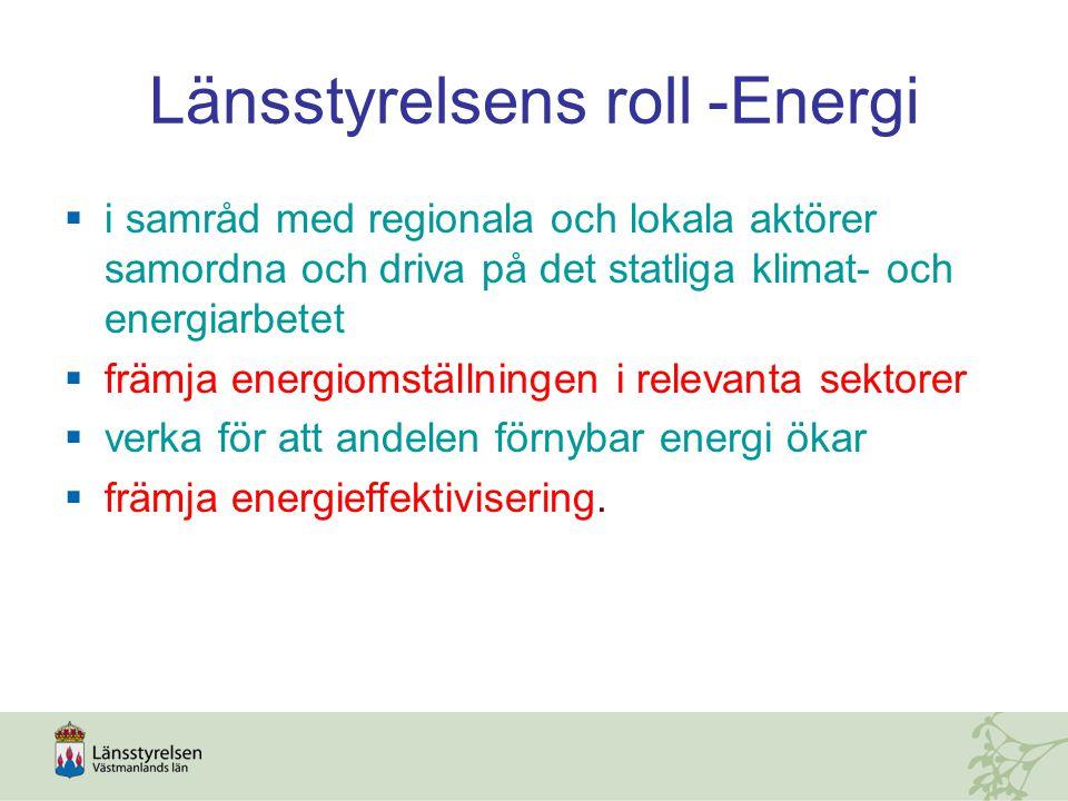 Länsstyrelsens roll -Energi  i samråd med regionala och lokala aktörer samordna och driva på det statliga klimat- och energiarbetet  främja energiomställningen i relevanta sektorer  verka för att andelen förnybar energi ökar  främja energieffektivisering.