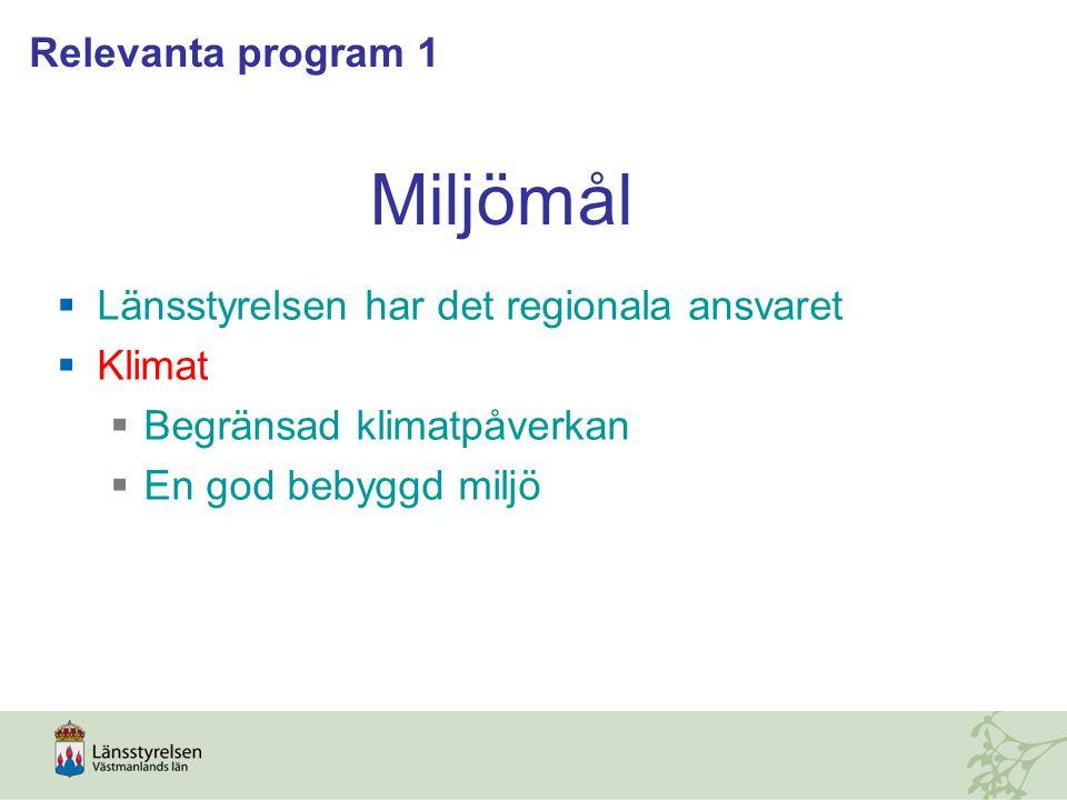 Miljömål  Länsstyrelsen har det regionala ansvaret  Klimat  Begränsad klimatpåverkan  En god bebyggd miljö Relevanta program 1