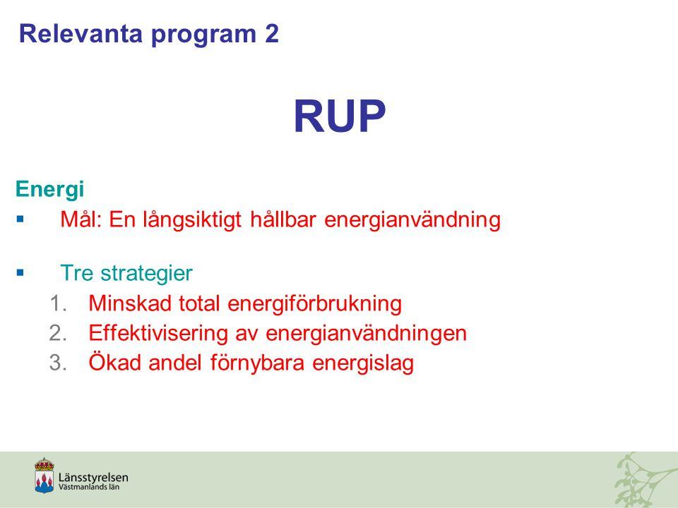RUP Energi  Mål: En långsiktigt hållbar energianvändning  Tre strategier 1.Minskad total energiförbrukning 2.Effektivisering av energianvändningen 3.Ökad andel förnybara energislag Relevanta program 2