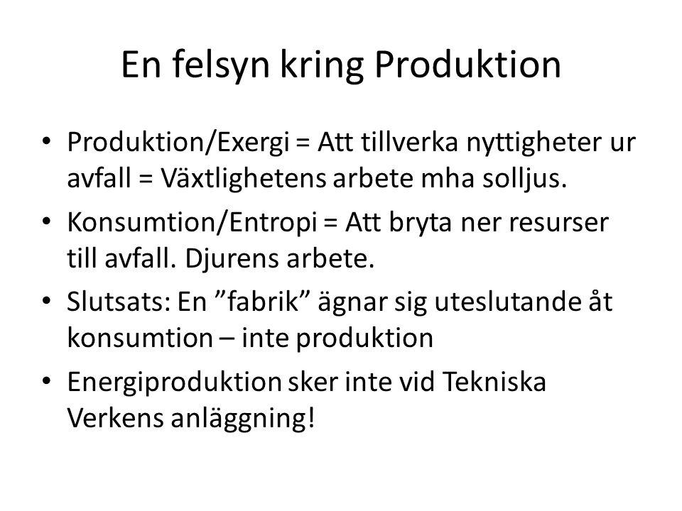En felsyn kring Produktion Produktion/Exergi = Att tillverka nyttigheter ur avfall = Växtlighetens arbete mha solljus.