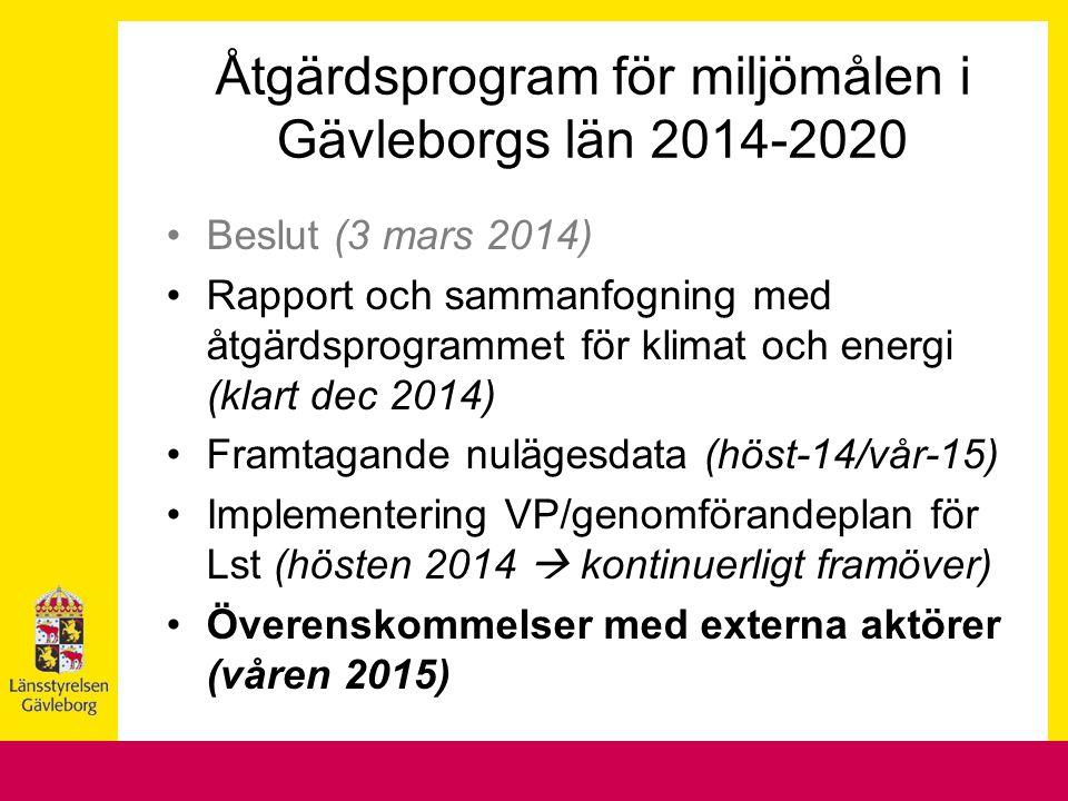 Beslut (3 mars 2014) Rapport och sammanfogning med åtgärdsprogrammet för klimat och energi (klart dec 2014) Framtagande nulägesdata (höst-14/vår-15) Implementering VP/genomförandeplan för Lst (hösten 2014  kontinuerligt framöver) Överenskommelser med externa aktörer (våren 2015) Åtgärdsprogram för miljömålen i Gävleborgs län 2014-2020