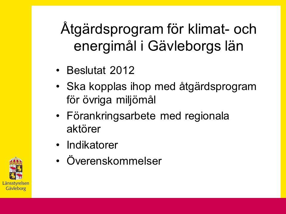 Åtgärdsprogram för klimat- och energimål i Gävleborgs län Beslutat 2012 Ska kopplas ihop med åtgärdsprogram för övriga miljömål Förankringsarbete med