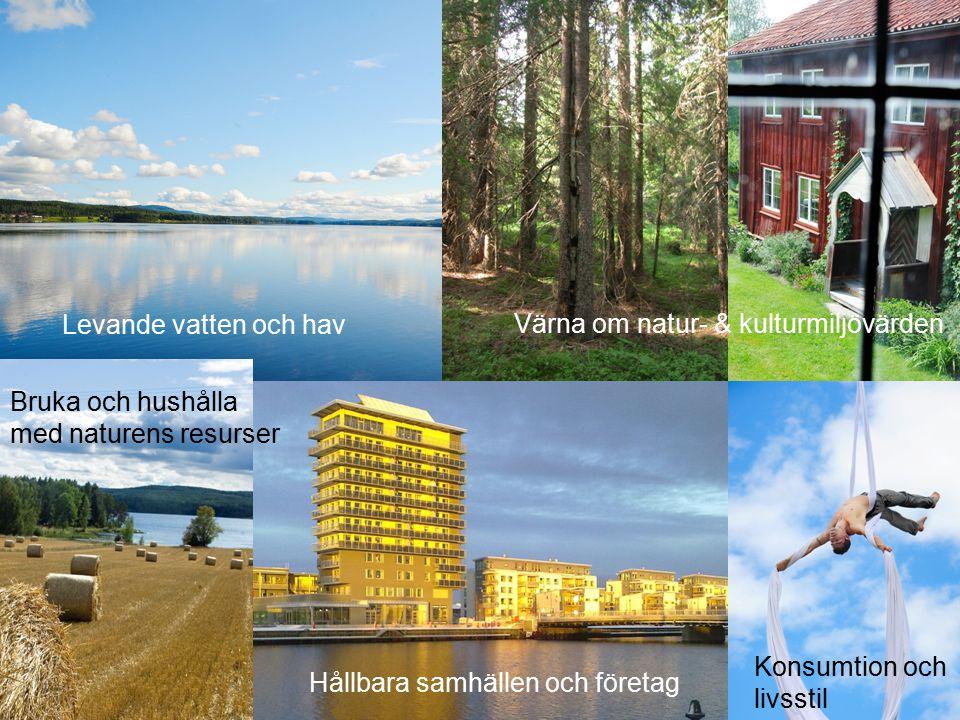 Levande vatten och hav Värna om natur- & kulturmiljövärden Bruka och hushålla med naturens resurser Hållbara samhällen och företag Konsumtion och livs