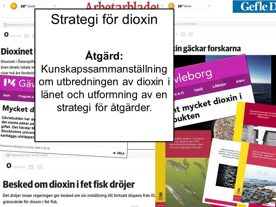 Strategi för dioxin Åtgärd: Kunskapssammanställning om utbredningen av dioxin i länet och utformning av en strategi för åtgärder.
