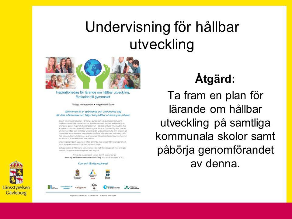 Åtgärd: Ta fram en plan för lärande om hållbar utveckling på samtliga kommunala skolor samt påbörja genomförandet av denna. Undervisning för hållbar u