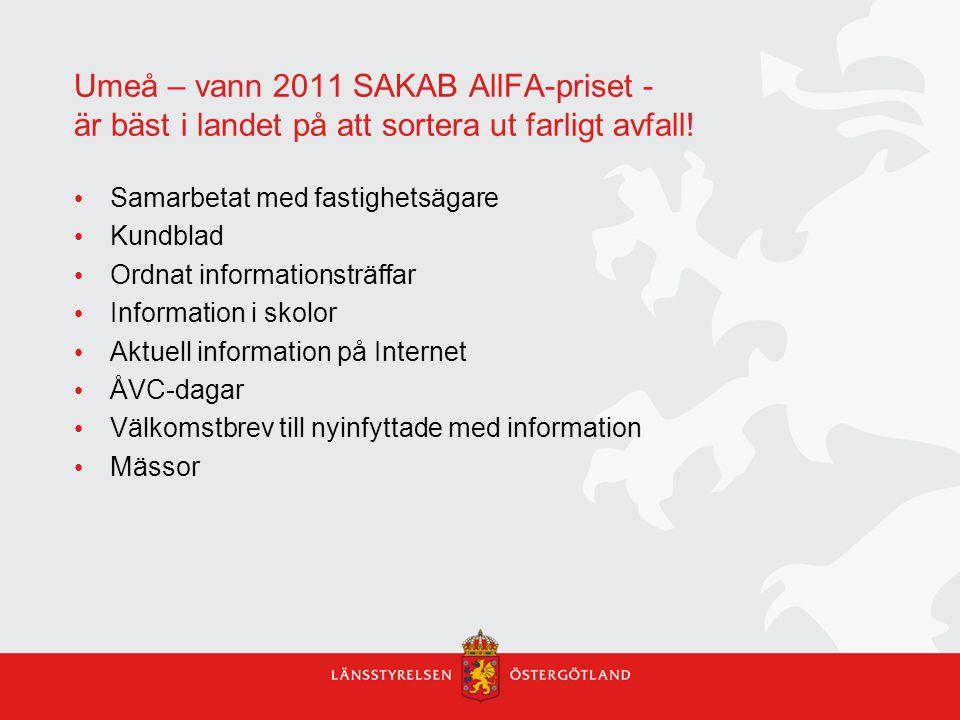Umeå – vann 2011 SAKAB AllFA-priset - är bäst i landet på att sortera ut farligt avfall! Samarbetat med fastighetsägare Kundblad Ordnat informationstr