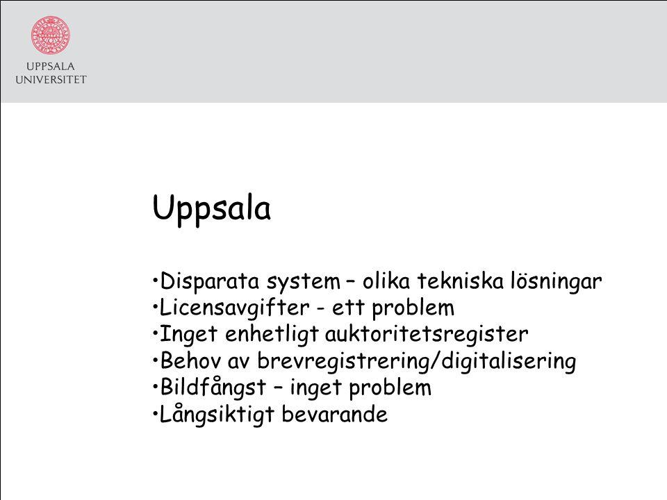 Uppsala Disparata system – olika tekniska lösningar Licensavgifter - ett problem Inget enhetligt auktoritetsregister Behov av brevregistrering/digitalisering Bildfångst – inget problem Långsiktigt bevarande