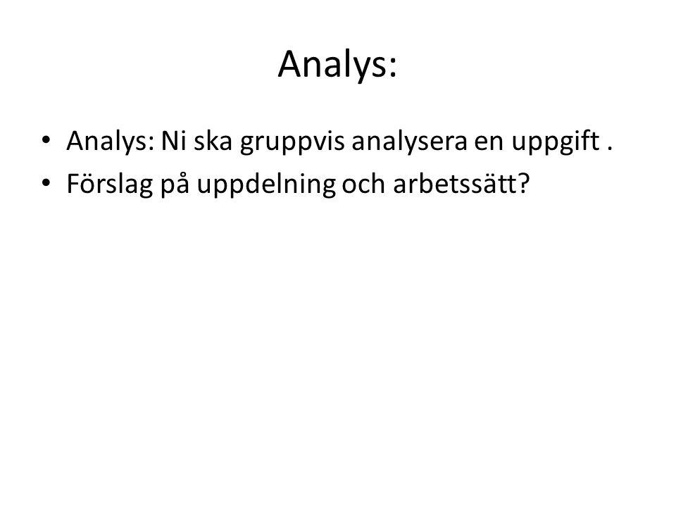 Analys: Analys: Ni ska gruppvis analysera en uppgift. Förslag på uppdelning och arbetssätt?