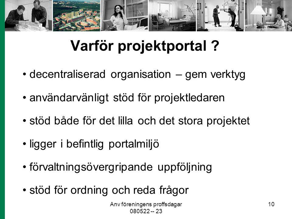 Anv föreningens proffsdagar 080522 -- 23 10 Varför projektportal ? decentraliserad organisation – gem verktyg användarvänligt stöd för projektledaren