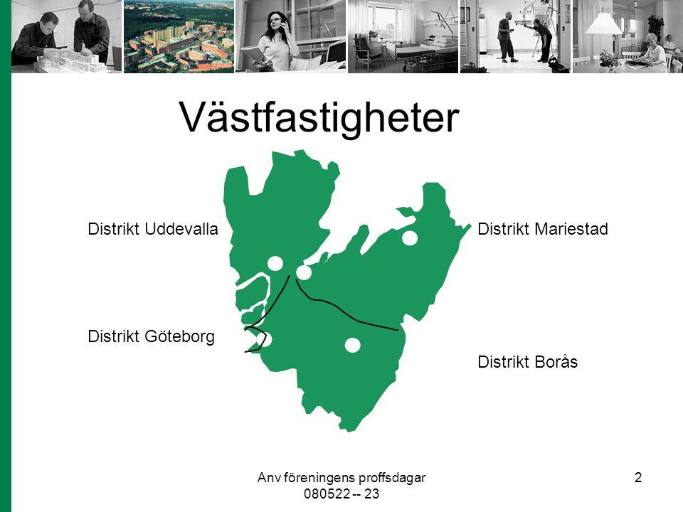 Anv föreningens proffsdagar 080522 -- 23 2 Västfastigheter Distrikt Uddevalla Distrikt Göteborg Distrikt Borås Distrikt Mariestad