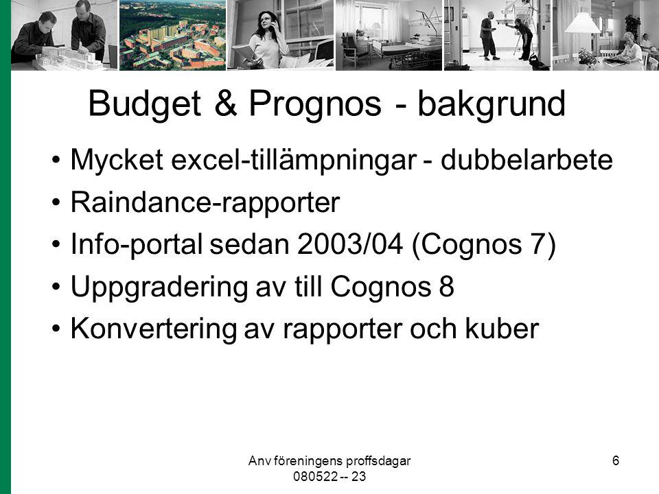 Anv föreningens proffsdagar 080522 -- 23 6 Budget & Prognos - bakgrund Mycket excel-tillämpningar - dubbelarbete Raindance-rapporter Info-portal sedan 2003/04 (Cognos 7) Uppgradering av till Cognos 8 Konvertering av rapporter och kuber