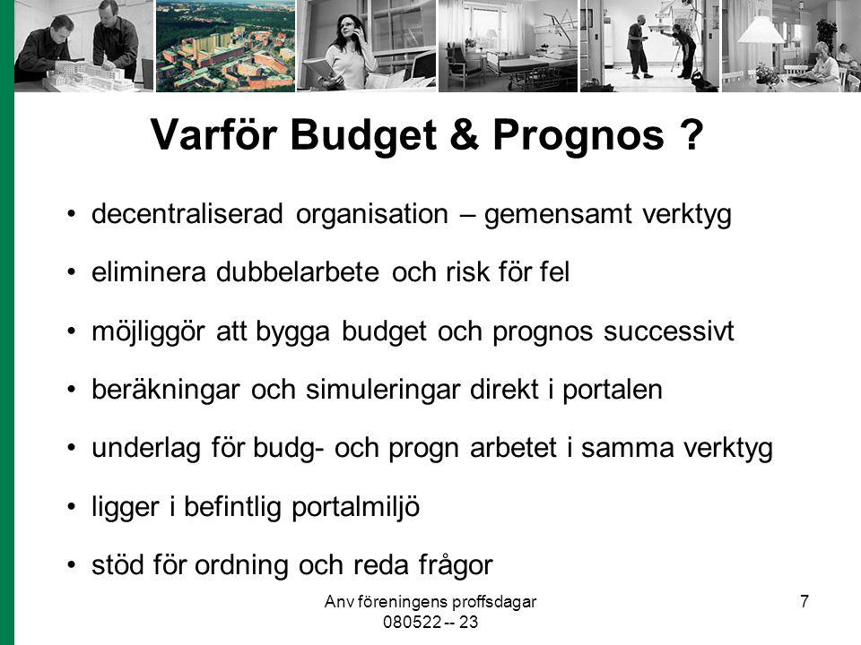 Anv föreningens proffsdagar 080522 -- 23 7 Varför Budget & Prognos ? decentraliserad organisation – gemensamt verktyg eliminera dubbelarbete och risk