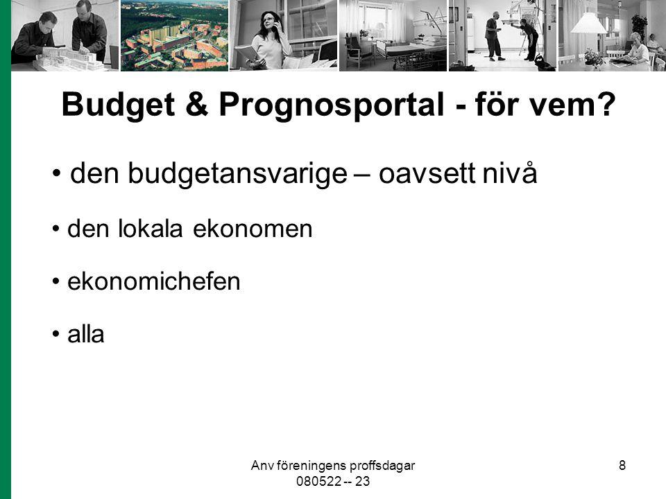 Anv föreningens proffsdagar 080522 -- 23 8 Budget & Prognosportal - för vem? den budgetansvarige – oavsett nivå den lokala ekonomen ekonomichefen alla