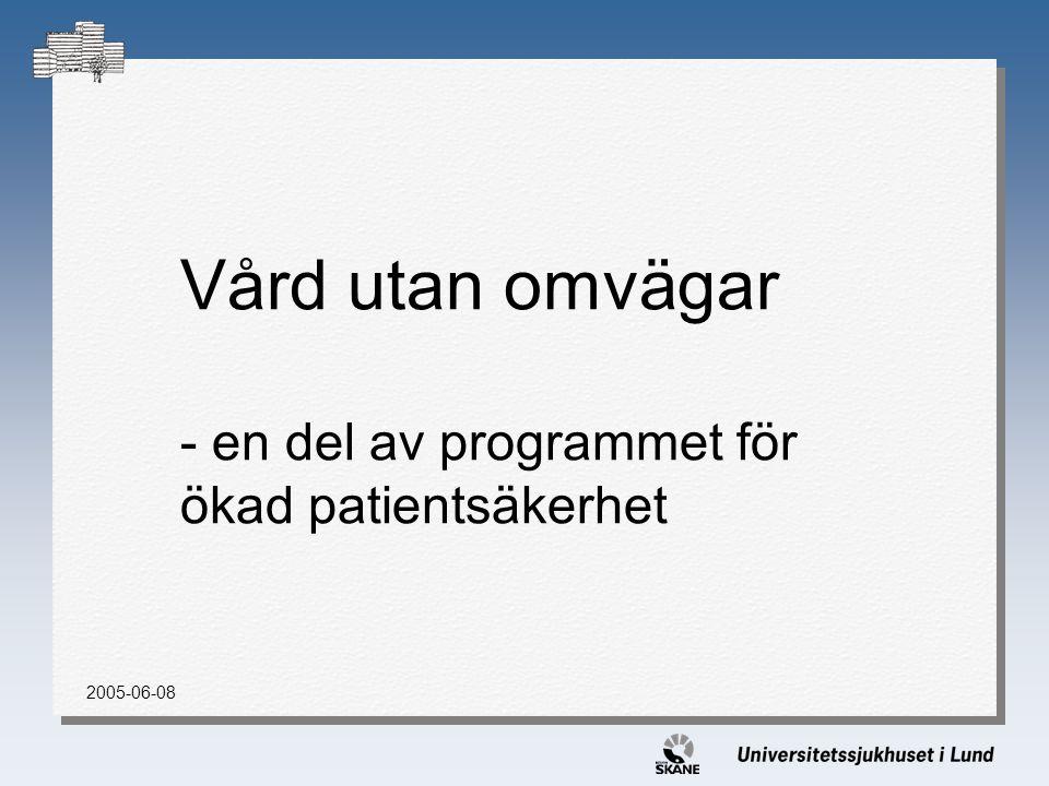 Vård utan omvägar - en del av programmet för ökad patientsäkerhet 2005-06-08