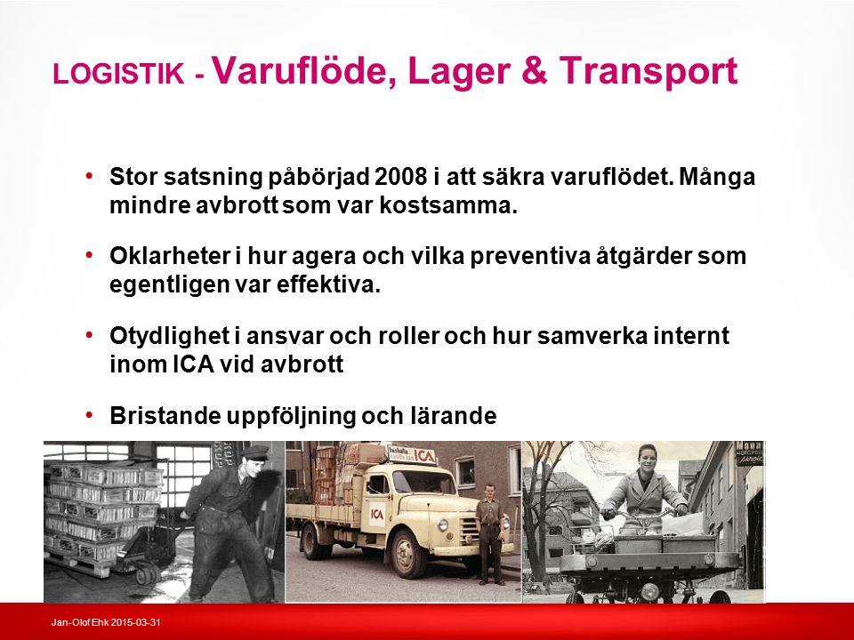 LOGISTIK - Varuflöde, Lager & Transport Stor satsning påbörjad 2008 i att säkra varuflödet. Många mindre avbrott som var kostsamma. Oklarheter i hur a
