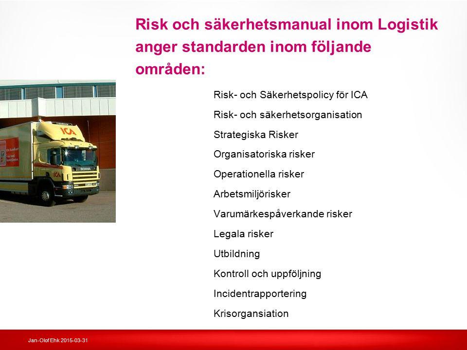 Risk och säkerhetsmanual inom Logistik anger standarden inom följande områden: Risk- och Säkerhetspolicy för ICA Risk- och säkerhetsorganisation Strat