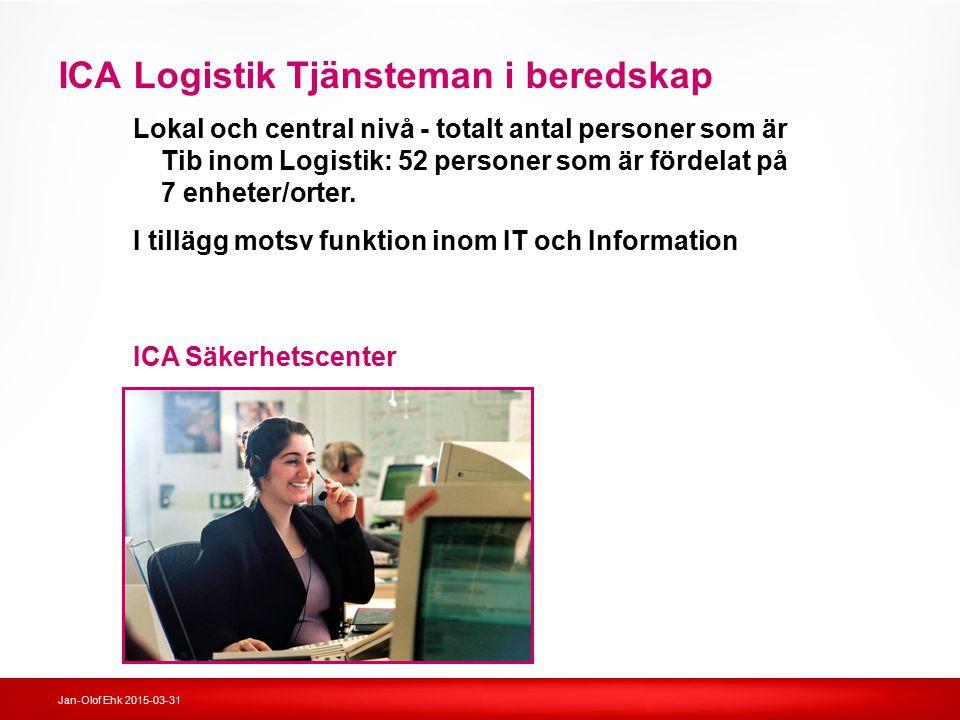 Jan-Olof Ehk 2015-03-31 ICA Logistik Tjänsteman i beredskap Lokal och central nivå - totalt antal personer som är Tib inom Logistik: 52 personer som ä